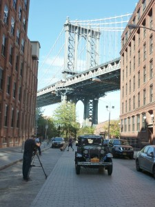 Filming with the Manhattan bridge in the background