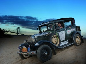 Vintage Adventurer Rod Wade and co-driver Michael Flanders set off from Staten Island, LA bound