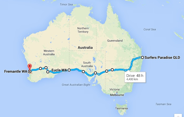 The Ocean 2 Ocean Oz route