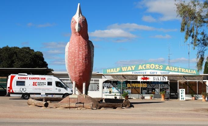 Kidney Kamper aka SupaK at the half way across Australia stop